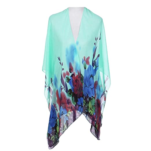 f8496d7b29ae TrendsBlue Elegant Chiffon Floral Sheer Kimono Wrap Cardigan Beach Cover Up