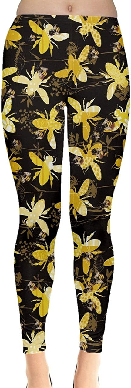 CowCow Womens Bee Butterflies Butterfly Honeycombs Insect Ladybugs Beetles Leggings, XS-5XL: Clothing