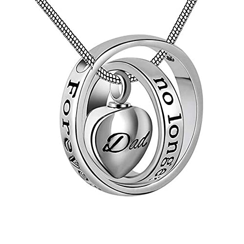Eternalmemorial Memory Keepsake Urn Pendant Necklace -No Longer by My Side  Forever in My Heart Cremation Jewelry for Ashes Mom Dad
