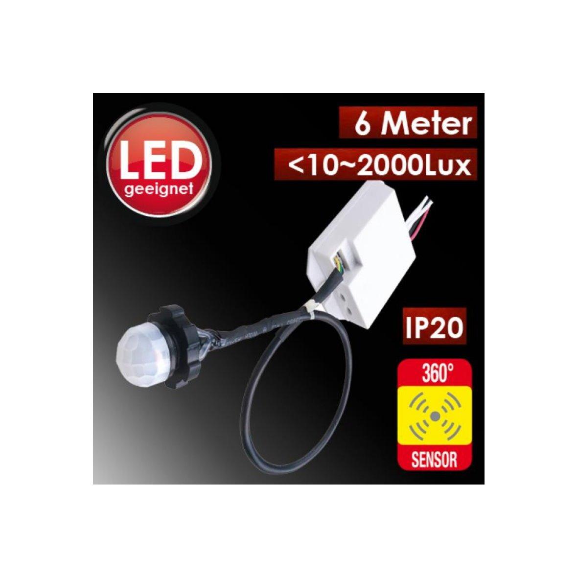 Mini detector de movimiento 360 ° para su instalación Sensor PIR empotrado para LED Detector 800 W: Amazon.es: Bricolaje y herramientas