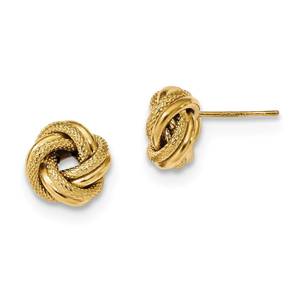 Solid 14k Yellow Gold Polished Textured Double Love Knot Post Earrings (10mm x 10mm)