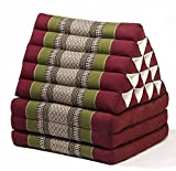 Jumbo Size Thai Handmade Foldout Triangle Thai Cushion, 73x18x3 inches, Red Green Kapok Fabric, Brown Cream, Premium Double Stitched, Products From Thailand