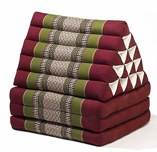 Jumbo Size Thai Handmade Foldout Triangle Thai Cushion, 73x18x3 inches, Red Green Kapok Fabric, Brown Cream, Premium Double Stitched, Products From Thailand by WADSUWAN SHOP