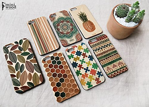 Color Pattern - Miniwood iPhone/ Samsung Case - Natural Real Wooden, Laser Engraving, Unique Case, Unique, Classy & Stylish Wood, Protective Bumper with Real All Wooden - Lenses Natural Colour
