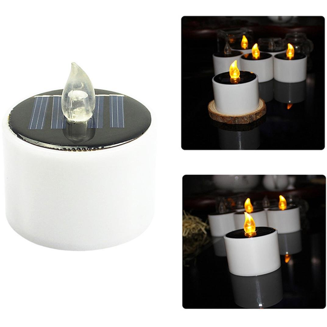 JDgoods_Solar Powered LED Candle, 1Pcs Solar Powered LED Candles Flameless Electronic Solar LED Tea Lights Lamp For Wedding Party Christmas Halloween Home Garden Wall Decorations
