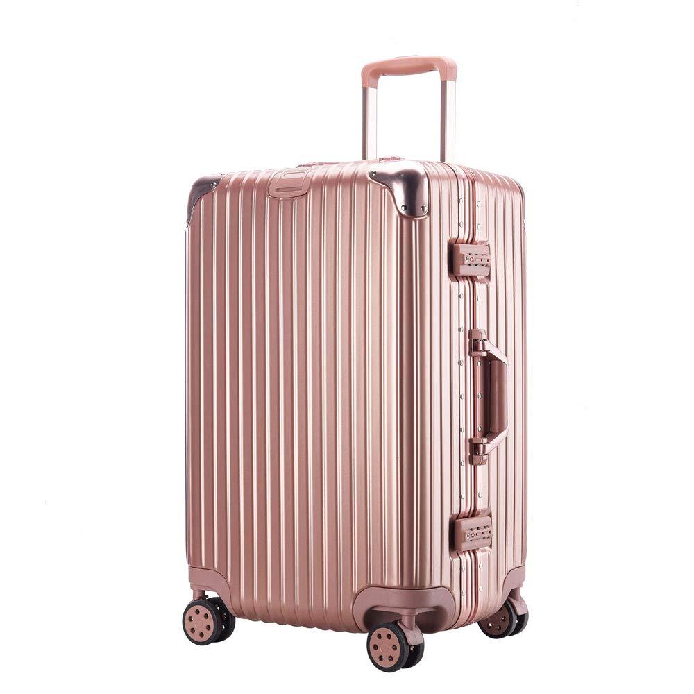トロリーケース肥厚拡大大容量つや消しアルミフレームスーツケース搭乗ユニバーサルホイールスーツケース (Color : ローズゴールド, Size : 26 inches)   B07RBSC2NP