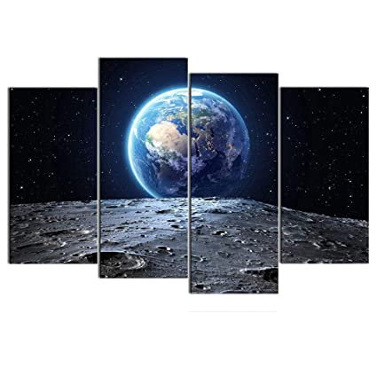amazon com dingdong art framed galaxy painting abstract earth view