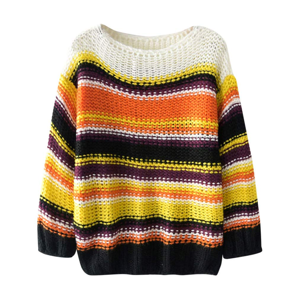 Autumn Winner Womens Casual Polyester Knit Striped Multicolor Sweater Long Sleevel Tops Blouse Sweater Free)