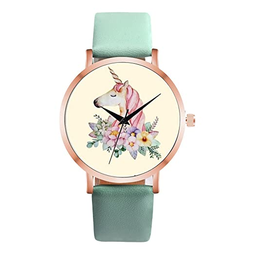 Amazon.com: Elegant Unicorn Womens Watches - Simple Floral Print Leather Watches for Girls, Black: Watches