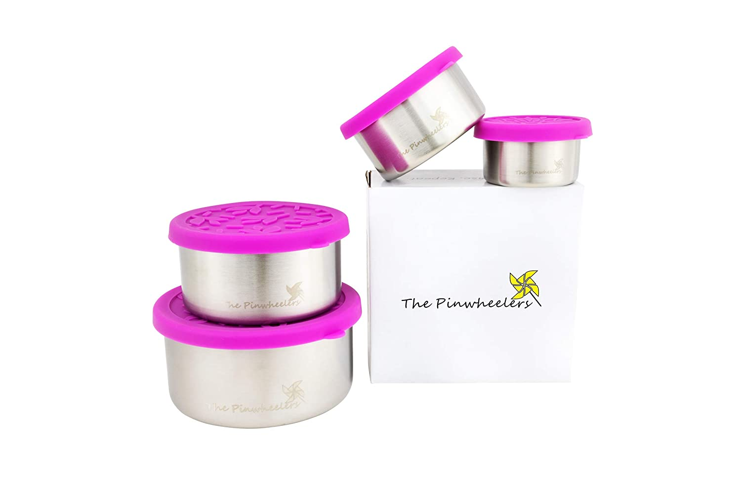 The Pinwheelers Nestable Quad | Stackable Stainless Steel Food Storage Containers | Set of 4 with 100% Leakproof Silicone Lids | Portable, Reusable, EcoFriendly, Plastic Free