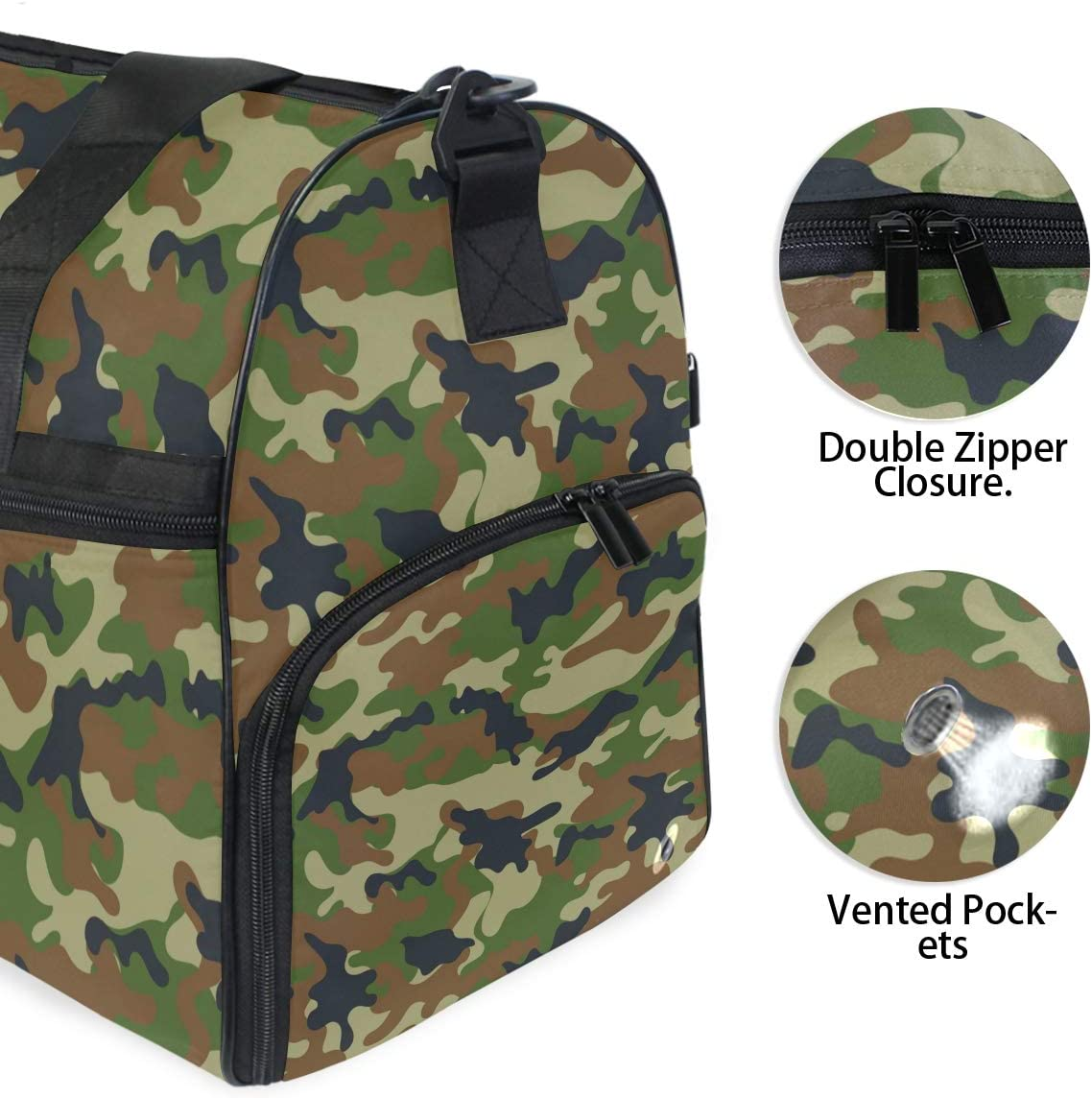 ALAZA Stylish Camouflage Sports Gym Duffel Bag Travel Luggage Handbag Shoulder Bag with Shoes Compartment for Men Women