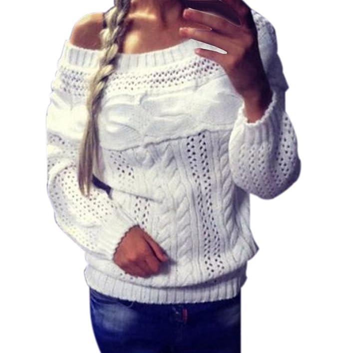 ... Jerséis Tops Fiesta Anchas Barco Cuello Otoño Colores Sólidos Casual Pullover Jerseys Sin Tirantes Basicas Tejer Blusas: Amazon.es: Ropa y accesorios