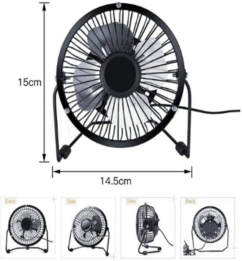 BaofuFacai Mini USB Table Desk Personal Fan Study Metal Design, Quiet Operation 35.4 USB Cable, High Compatibility for Home Office USB Powered Metal Desk Fan