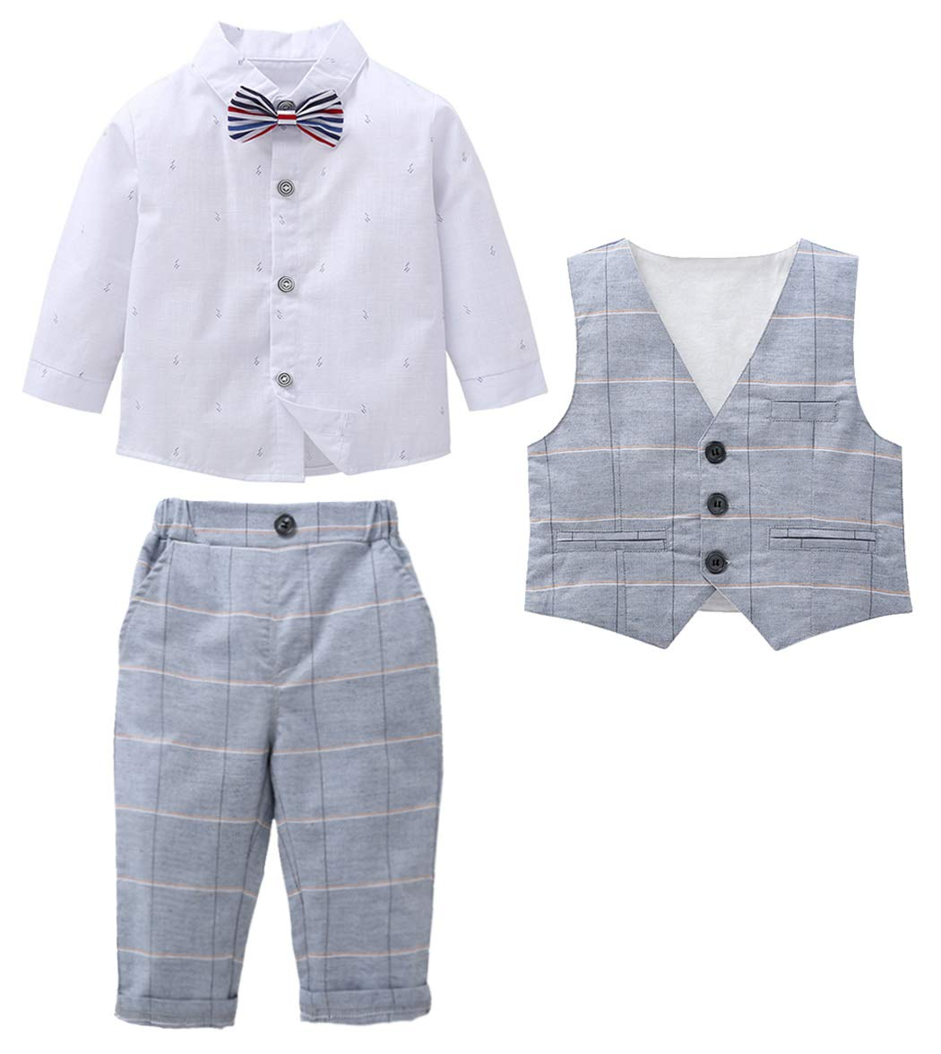 MetCuento Baby Boy Formal Outfit Bowtie Tuxedo White Shirt Long Sleeve Gentleman Formal 3 Pcs Dress Shirt 18-24 Months by MetCuento