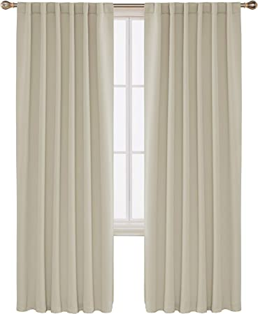 Deconovo Solid Thermal Insulated Room Darkening Curtain Rod Pocket and Back  Tab Blackout Curtains for Bedroom 52x84 Inch Beige 2 Panels
