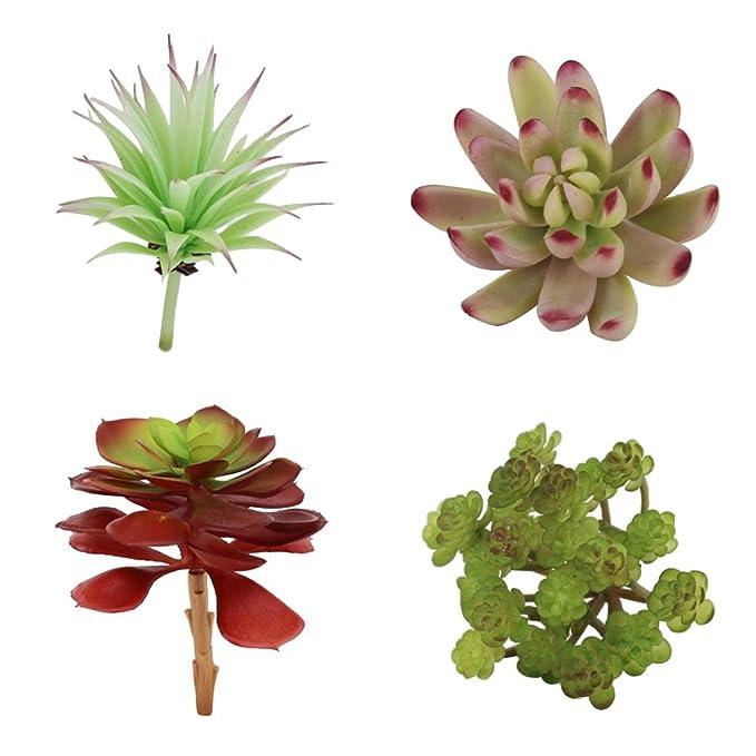 vorcool 4 Distintos tipos de Artificiales crasas Kleine sintética Maceta crasas para casa jardín decoración: Amazon.es: Hogar
