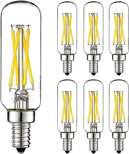 LiteHistory E12 led bulb Dimmable 4W equal 40W led candelabra bulb daylight 5000K clear T6 T25 E12 edison bulb for ceiling fan light bulbs,chandelier light bulbs AC120V 400LM E12 candelabra bulb 6Pack