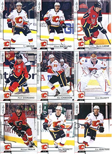 2017-18 O-Pee-Chee Hockey Calgary Flames Team Set of 16 Cards: Matthew Tkachuk(#22), Micheal Ferland(#29), Dougie Hamilton(#81), Sean Monahan(#122), Troy Brouwer(#152), Chad Johnson(#160), Michael Frolik(#185), Johnny Gaudreau(#203), Sam Bennett(#268), Kris Versteeg(#315), Mark Giordano(#359), Alex Chiasson(#399), Brian Elliott(#426), Curtis Lazar(#442), Mikael Backlund(#448), T.J. Brodie(#491)