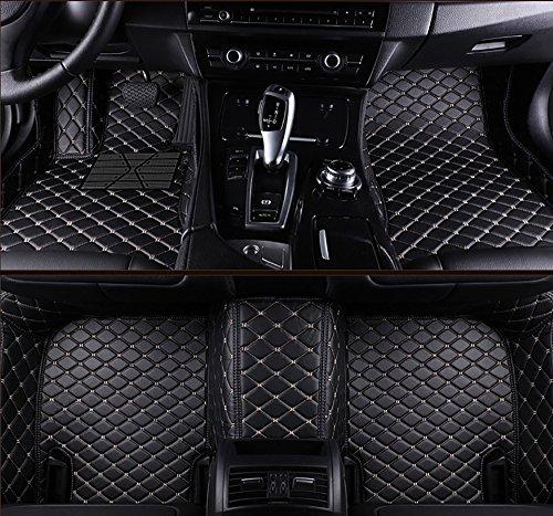 VEVAE Laser Measured Custom Faux Leather Car Floor Mats for BMW E66 7 Series 740Li/750Li/760Li 2002-2008, All Weather Full Surrounding Enclosure Waterproof Car Carpets (Black with Beige Stitching) (Floor Custom 7 Bmw Series)