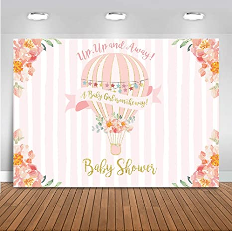 Amazon Com Mehofoto Up Up And Away Baby Shower Backdrop Hot Air
