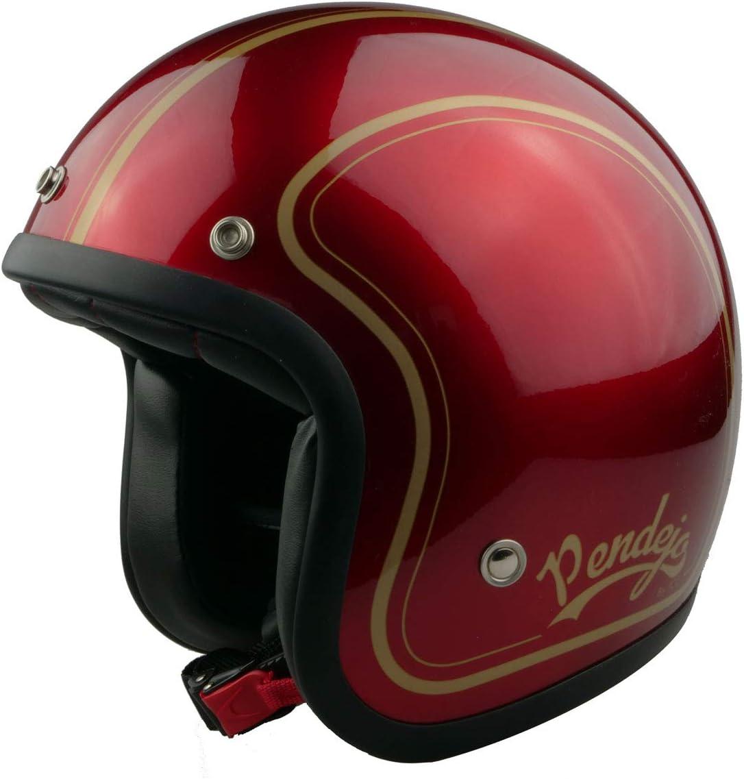 Casco de moto jet Pendejo classic en rojo con detalles en dorado by Iguana Custom Collection con corchetes para pantallas y tira de cuero sujeta gafas. (M)