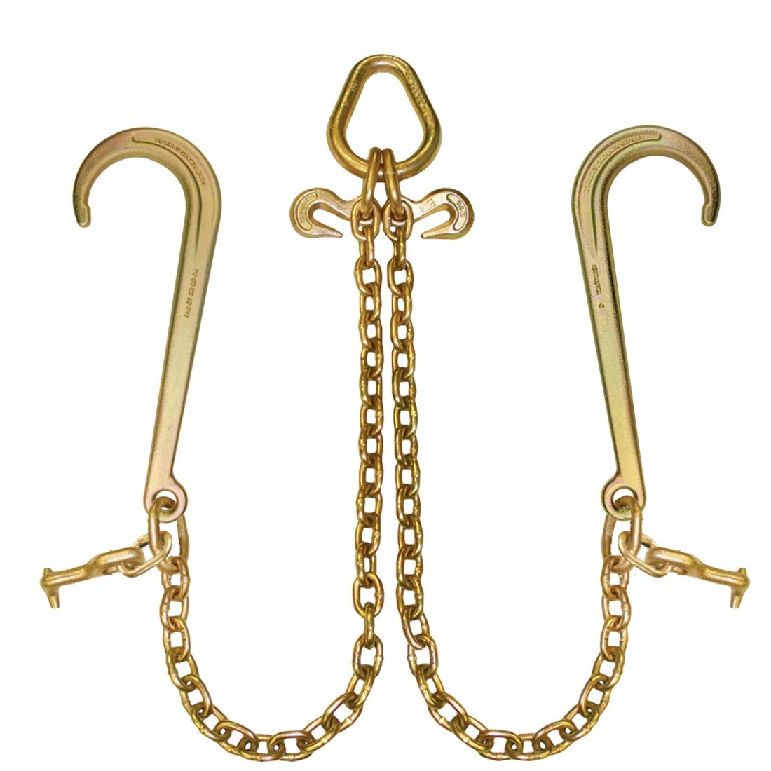 Johnstown Grade 70 Towing Chain Bridle with 15'' J-Hooks and Alloy T-Hooks - 4700 lbs. SWL (47'')