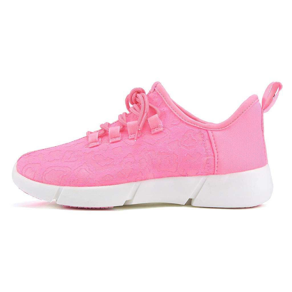 ℱLOVESOOℱ Couple Lace-Up Sneakers with Led Light Unisex Colorful Flash Casual Shoes Quick-Drying Breathable Runing Shoes Pink by ℱLOVESOOℱ (Image #4)