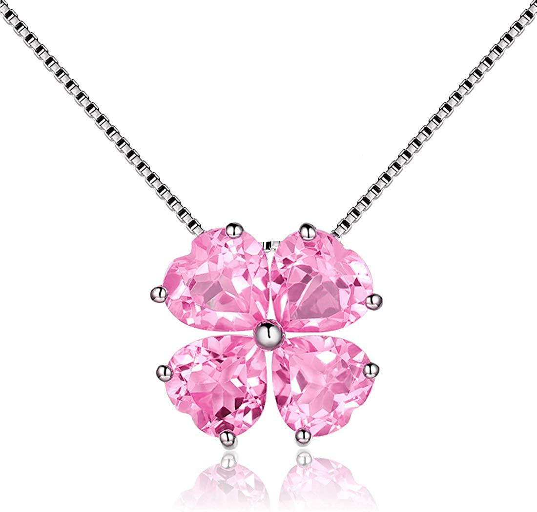 TOURMALINE PINK   Sterling Silver Birthstone Necklace and Glass Pendant OCTOBER