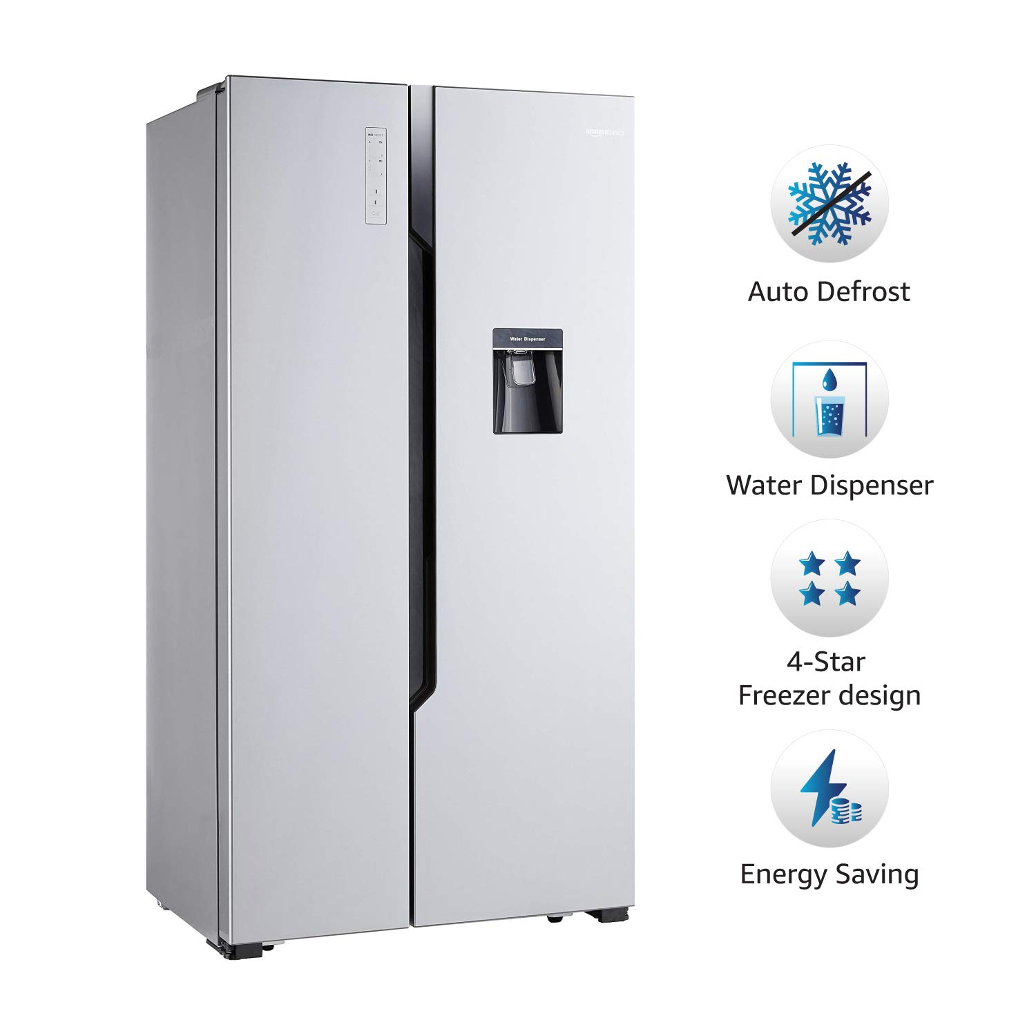 Buy Large Appliances Refrigerators AmazonBasics 564 L Frost Free Side-by-Side Refrigerator with Water Dispenser Silver