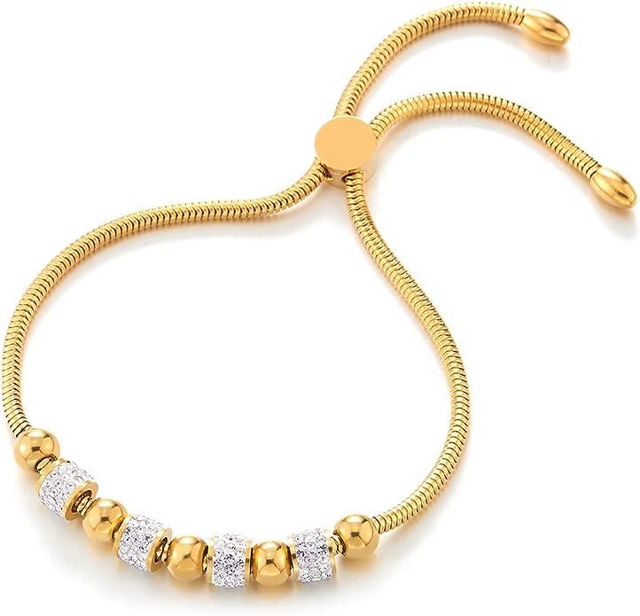 R/églable COOLSTEELANDBEYOND Deux Rangs Acier Inoxydable Femme Cha/îne Maillons Bracelets de Cheville avec Coeur Charms et Grelot
