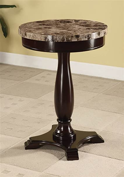 Charmant ADF Round Table Marble Veneer Top And Espresso Base