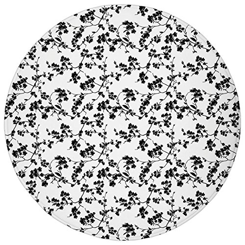 Round Rug Mat Carpet,Asian,Monochrome Sakura Flower Silhouette Blooming Nature Illustration Spring Season Theme Decorative,Black White,Flannel Microfiber Non-slip Soft Absorbent,for Kitchen Floor Bath Blooming Silhouette