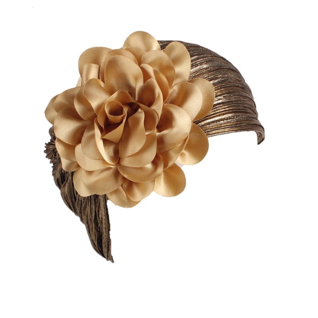 Womens Great Hats,Women Ladies Retro Big Flowers Hat Turban Brim Hat Cap Pile (17colours) Large) Lamolory