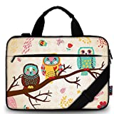 iColor 15' Canvas Laptop Shoulder Messenger Bags 14' 15.4 Inch Office Briefcase 15.6' Computer PC Notebook Tablet Handle Cases Carrying Sleeve Cover Holder (14'~15.6', Owl)
