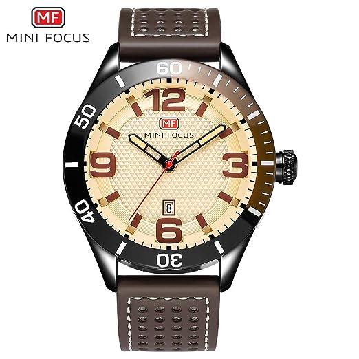 SJXIN Reloj Elegante Mini Focus / MF0155G Reloj de Hombre con cinturón Reloj de Cuero con Hombre de Cuarzo Relojes de Moda (Color : 1): Amazon.es: Relojes