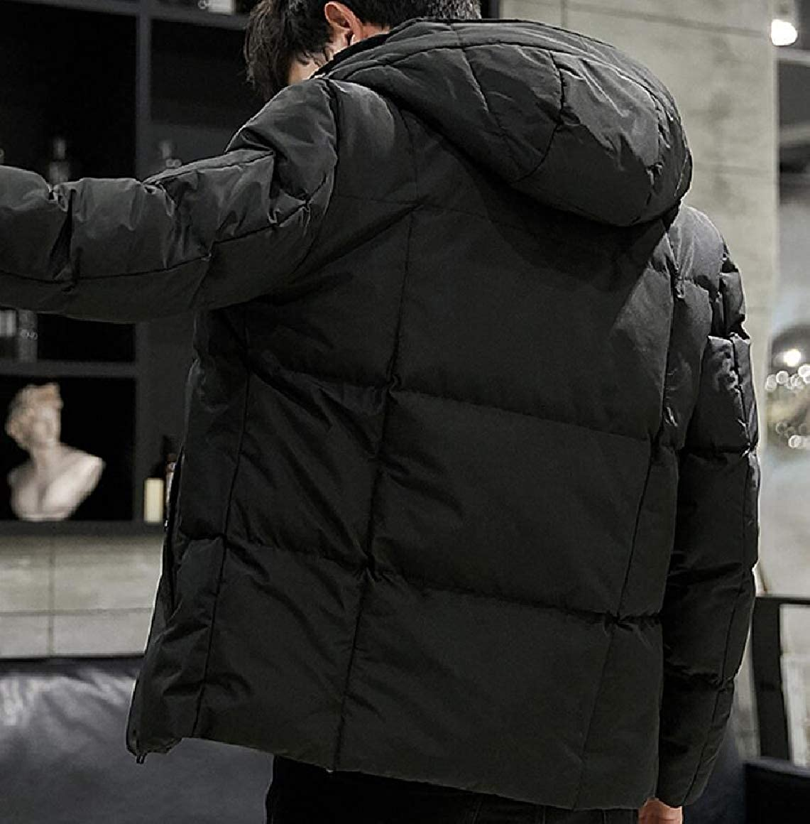 omniscient Mens Packable Hooded Thicken Down Jacket Winter Puffer Coat Outerwear