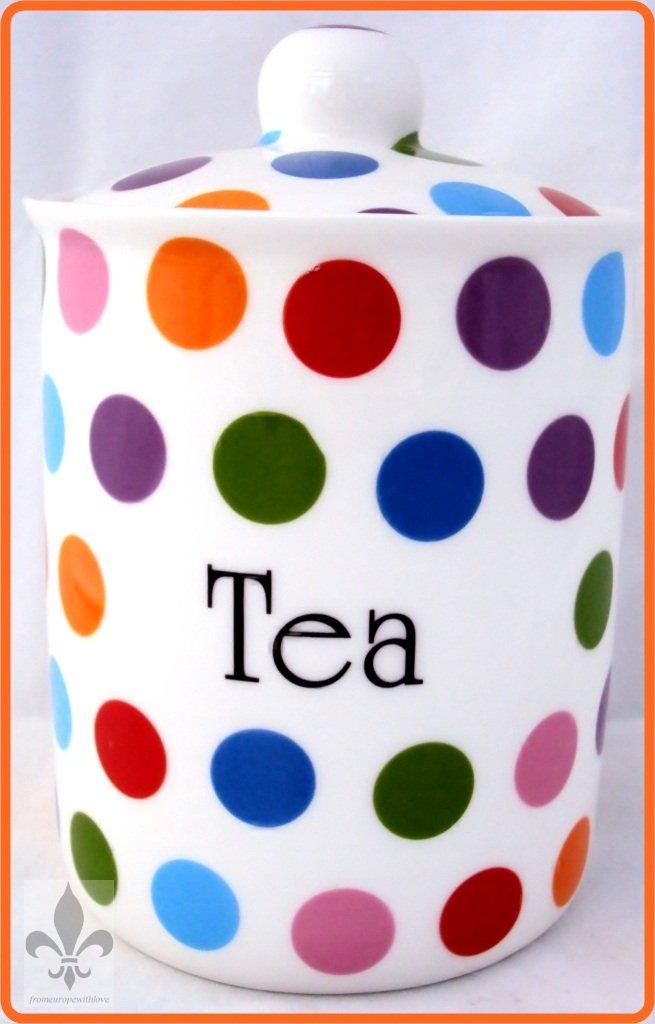 Lunares té recipiente de porcelana pintada a mano del tarro de puntos en el Reino Unido entrega GRATUITA Reino Unido