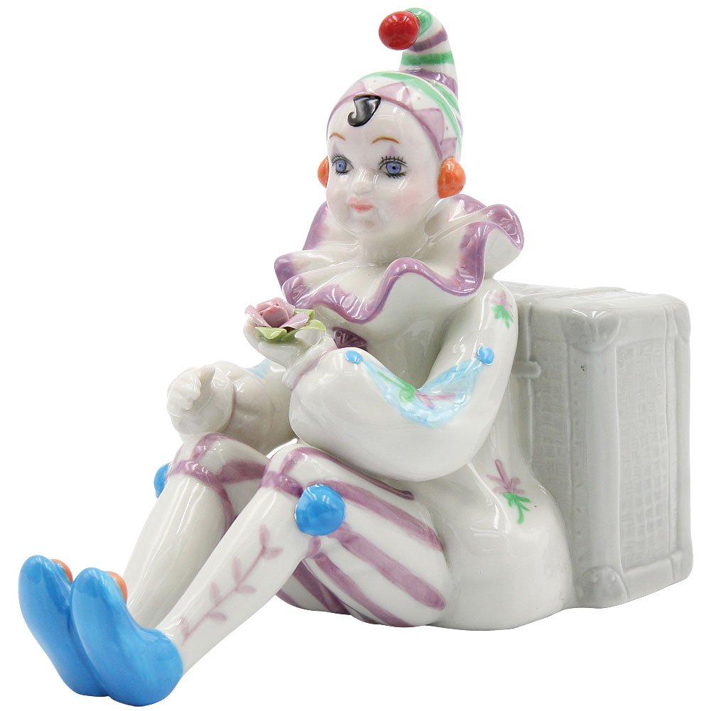 Cosmos Clown Sitting by Luggage Ceramic Musical, White, 6 1/4