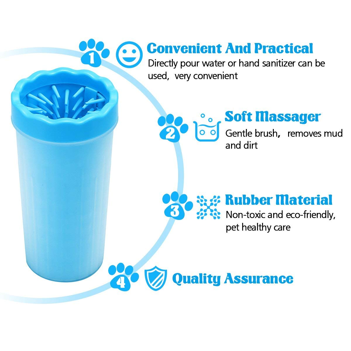 KerKoor Dog Paw Cleaner, 9x11x23cm Extra Large Size Paw Cleaner With A Towel Portable Pet Cleaning Brush Cup Dog Pose Cleaner Foot Cleaning Brush Foot Washing Cup For Pets (Blue)