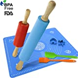 Rolling Pin and Pastry Mat Silicone Spatula Basting Pastry Brushes Set:Combo Kit of Large and Small Non-Stick Silicone Dough Rollers and 2 Stainless Steel Cookie Cutters for Baking