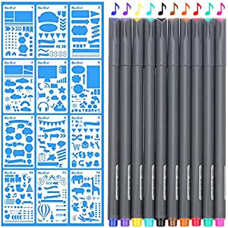 Bullet Journal Supplies, 10 Bullet Journal Colored Marker Pens and 12 Plastic Planner Stencils DIY Drawing Art Supplies on Notebook/Diary/Scrapbook