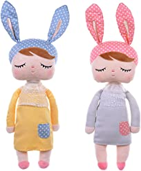 Metoo Dolls Plush Bunny Rabbit Soft Toys Sleeping Angela Doll for Baby Toddler 13 Inches (