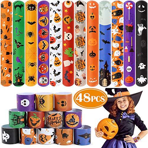 48 PCS Halloween Slap Bracelets for Kids Snap Bracelets Bulk with Spider Pumpkin Ghost Animal Print Craft Halloween Party Favors Birthday Gifts