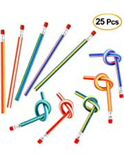 KUUQA 25 Pcs Soft Flexible Bendy Pencils Eraser Magic Bend Toys School Stationary Equipment for Kids Party Bag Fillers Party Favor Supplies Funny Gift Idea, Multicolored