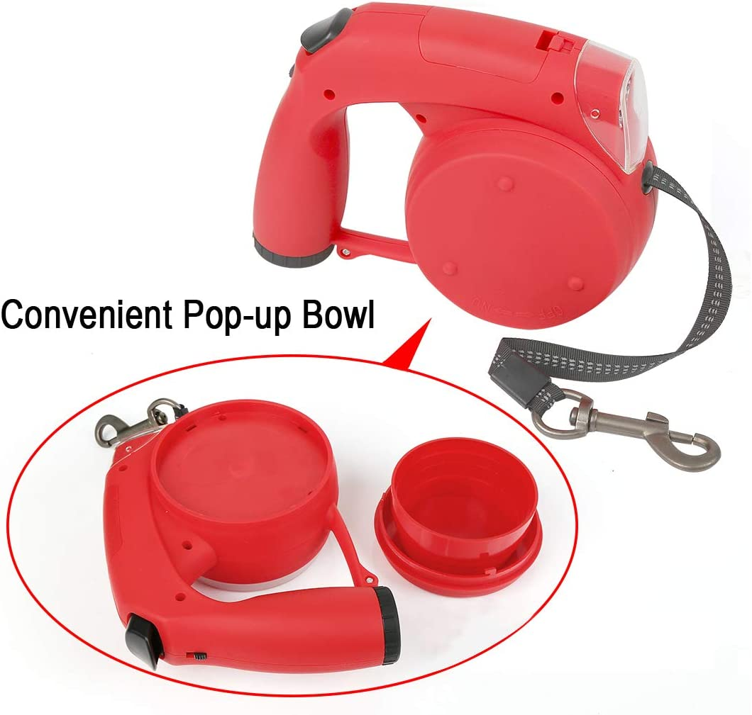 Retractable Dog Leash with LED Flashlight Up to 33 Lbs Heavy Duty Pet Leash with Treat Container Bowl and Waste Bag Dispenser for Small Breed 16 FT Strong Nylon Tape 360 Degree Tangle-Free