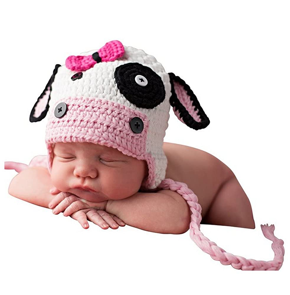 Vemonllas Fashion Cute Newborn Unisex Boy Girl Baby Outfits Photography Props Cow Hat Pink HB222