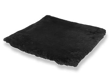 Cojín para sentarse piel de cordero EL LUJO negro (Manta para la silla de ruedas / Cama para el gato): Amazon.es: Hogar
