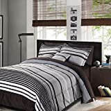 Premium 10 Piece Comforter Set Bedding for Superior Luxury and Comfort, Plaid Prints (Full (Super Single))