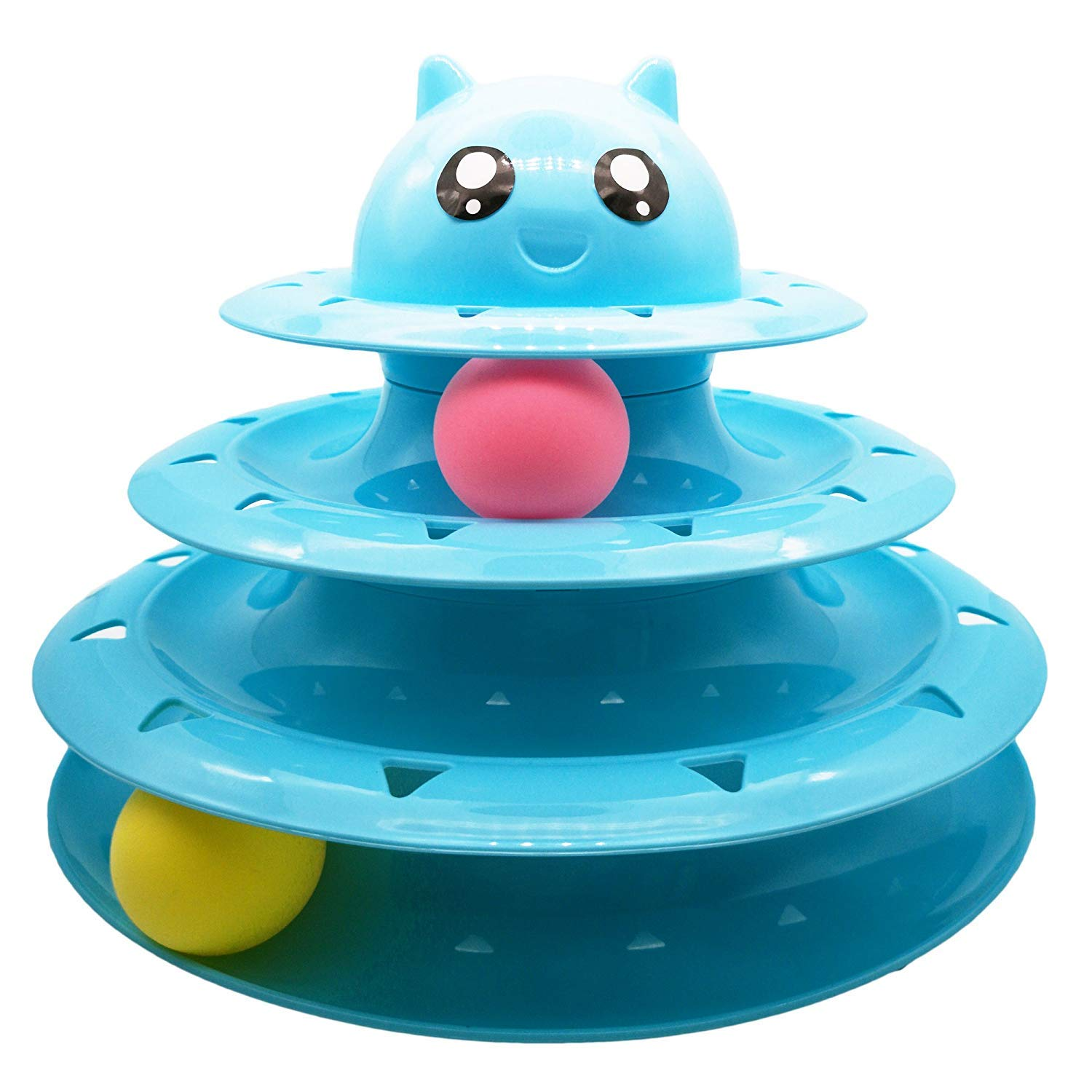 bluee Cat Toy cat Turntable Ball Three-Layer cat Tower Funny cat Stick Toy cat Scratch Board pet Claws cat Supplies