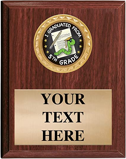 5x7 Custom Wood Finish 5th Grade Graduation Awards Fifth Grade Graduation Vertical Plaque Award Prime